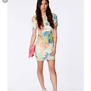 Missguided Tropical print bodycon dress